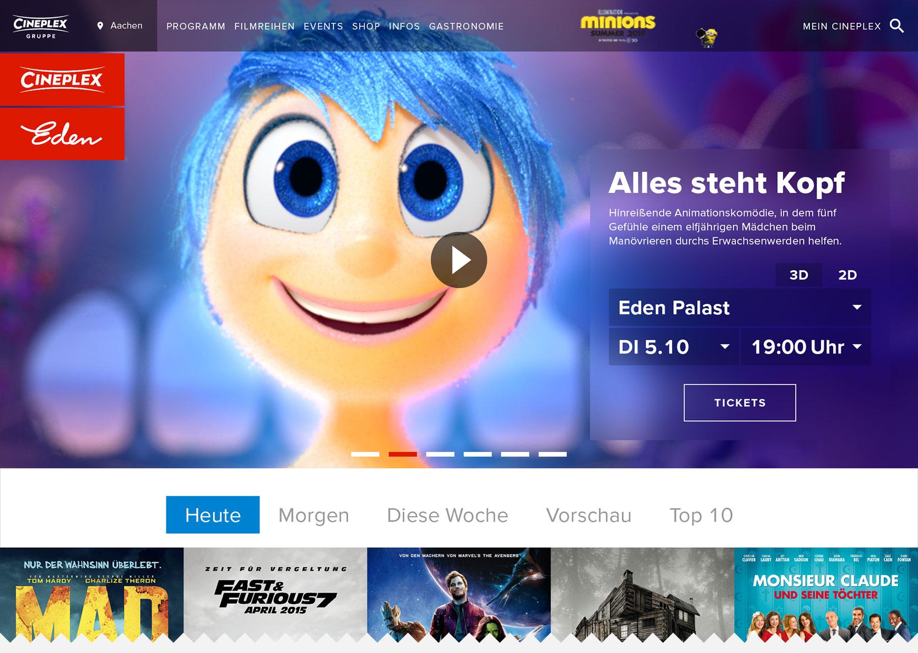 Crolla Lowis - Projekt - Cineplex Deutschland - Cineplex Website Facelift